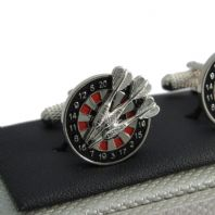 Darts Dartboard Cufflinks Gift Boxed